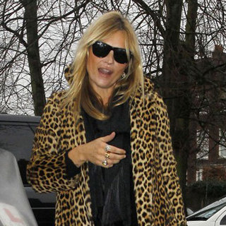 Kate Moss in a Leopard Print Coat Pictures