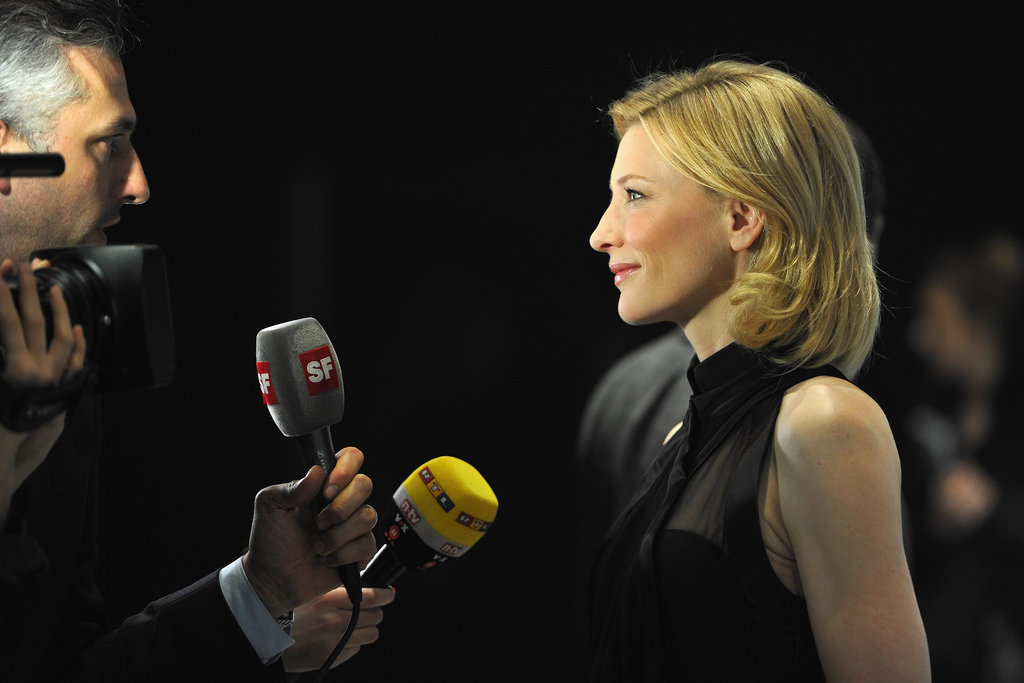 Cate Blanchett took a moment for the press.