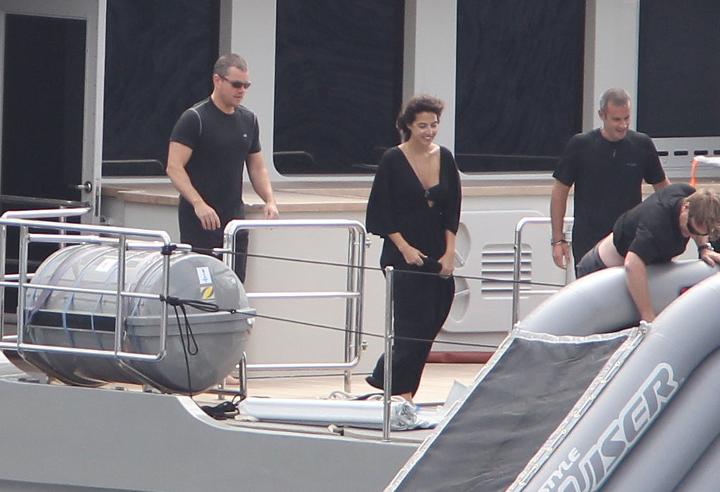 Matt Damon and friends hung out on a yacht.