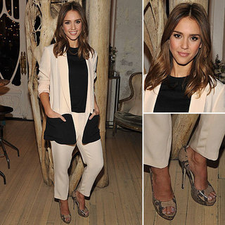 Jessica Alba Style Black and White Suit January 17, 2012