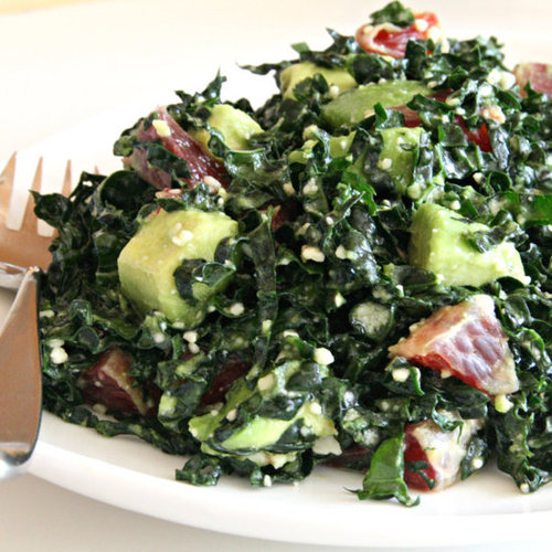Raw Kale Salad with Avocado and Blood Orange