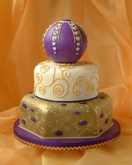 Purple And Gold Wedding Cakes