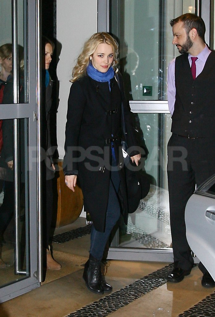Rachel McAdams  stepped out of her hotel in London in a blue scarf.