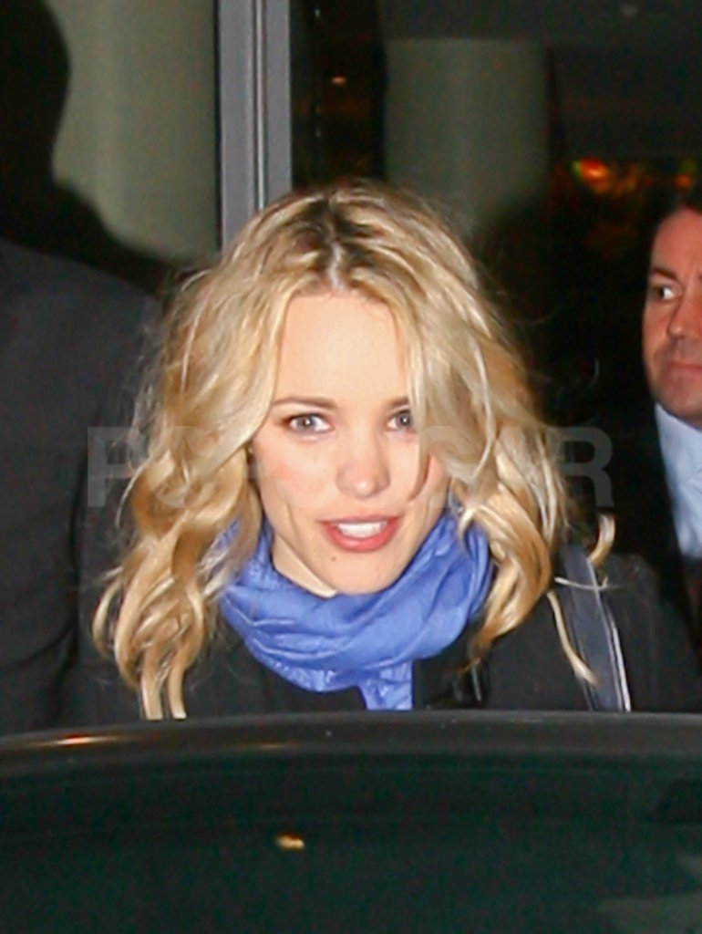 Rachel McAdams wore her hair curly and blond in London.