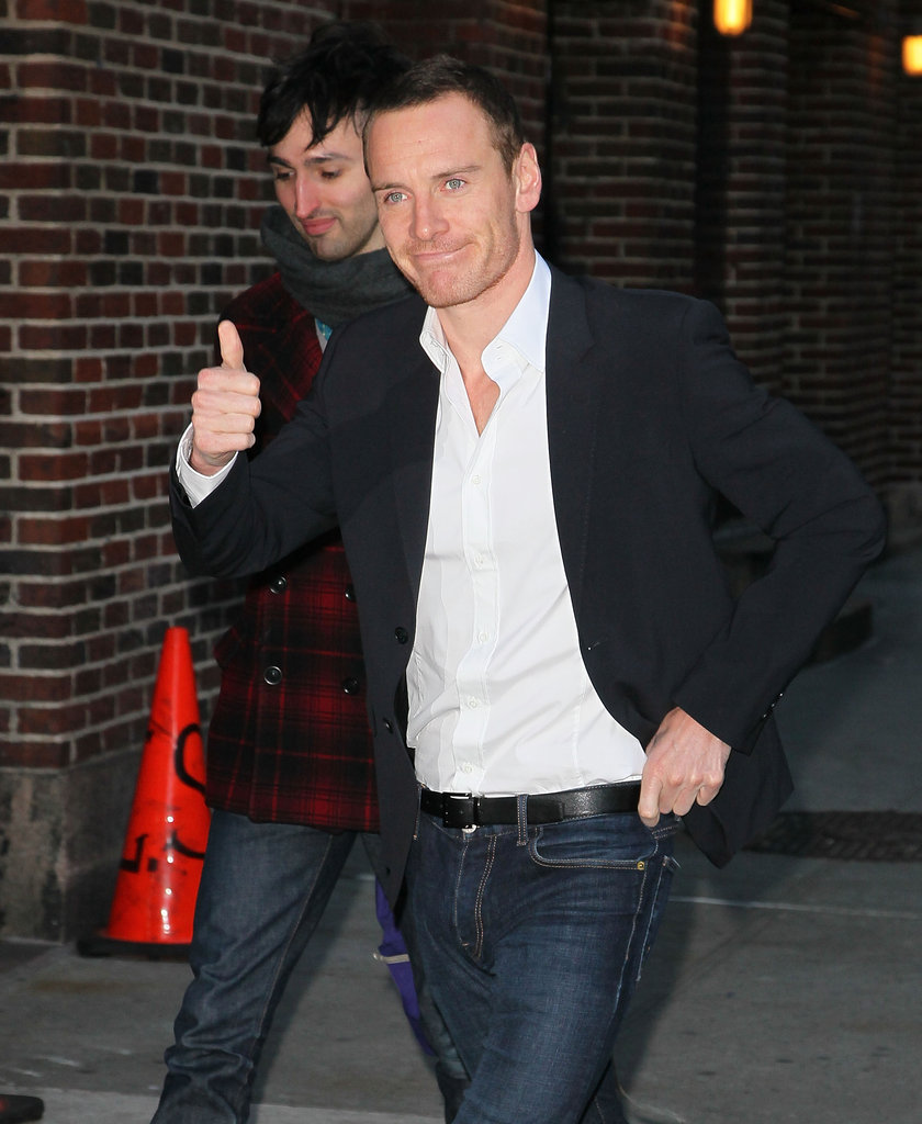 Michael Fassbender gave a thumbs up at the Late Show.