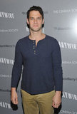 Justin Bartha wore a blue henley to the NYC premiere of Haywire.