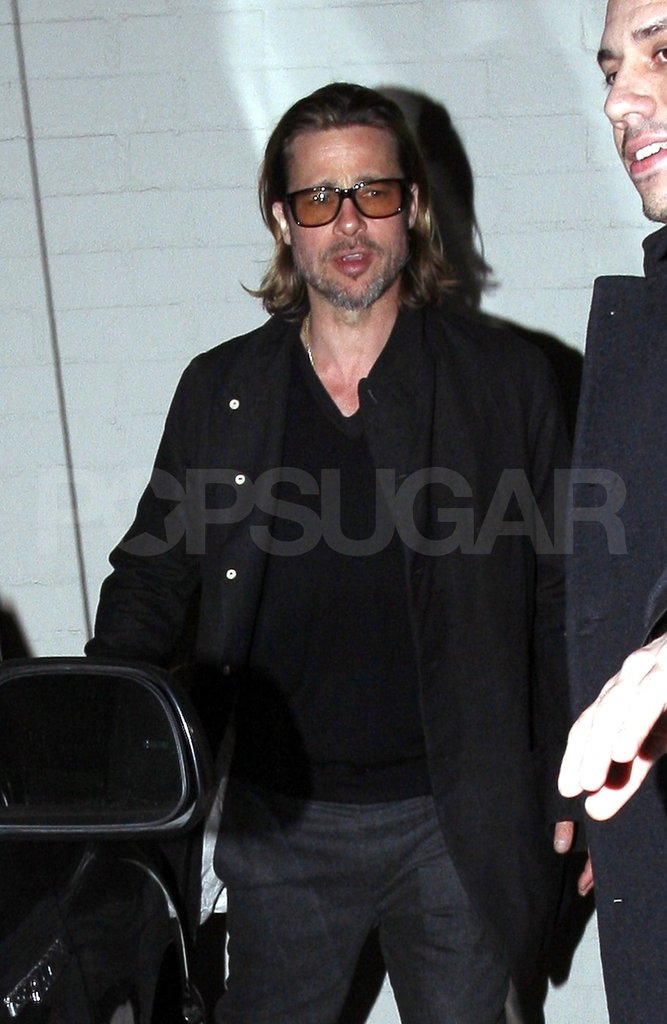 Brad Pitt made his way home after dinner.