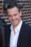 Michael Fassbender smiled outside the Late Show studios.