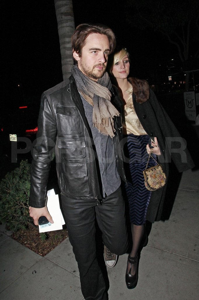 Vincent Piazza lead the way into Ashlee Simpson's mom's birthday dinner.