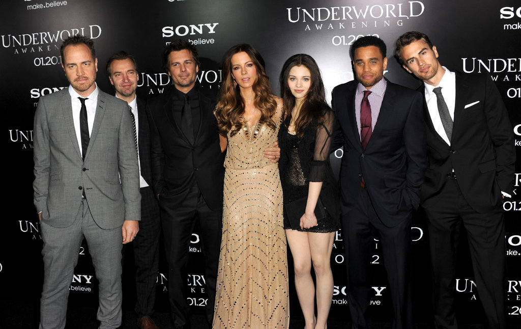 Bjorn Stein, Mans Marlind, Len Wiseman, Kate Beckinsale, India Eisley, Michael Ealy, and Theo James went to the LA premiere of Underworld: Awakening.