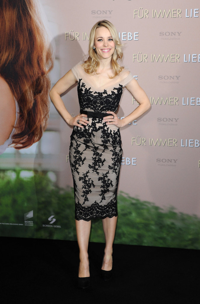 Rachel McAdams wore a lace dress in Germany.