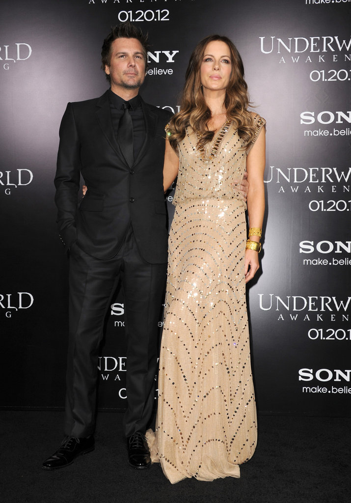 Kate Beckinsale wore a pretty beaded dress while Len Wiseman chose all black.