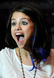 Selena debuted blue and purple streaks in her hair.