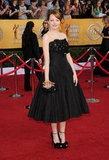 Emma Stone wore a strapless gown.