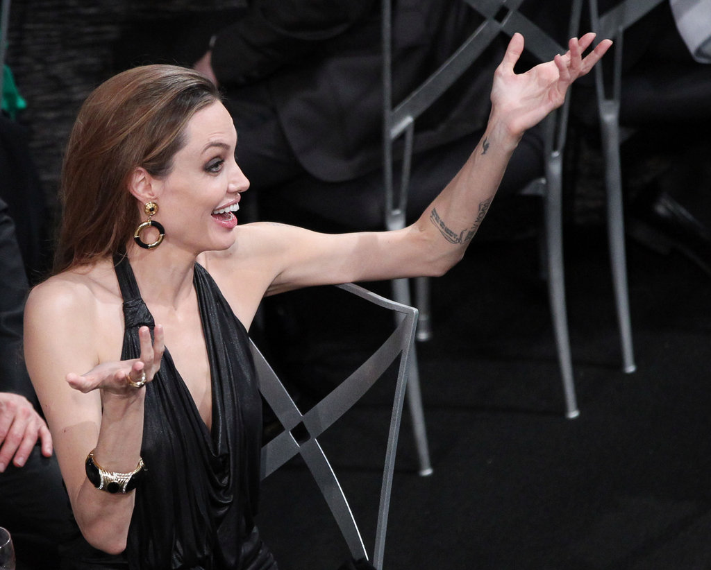Angelina Jolie got excited at the show.