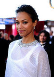 Zoe Saldana in a white gown at the SAGs.