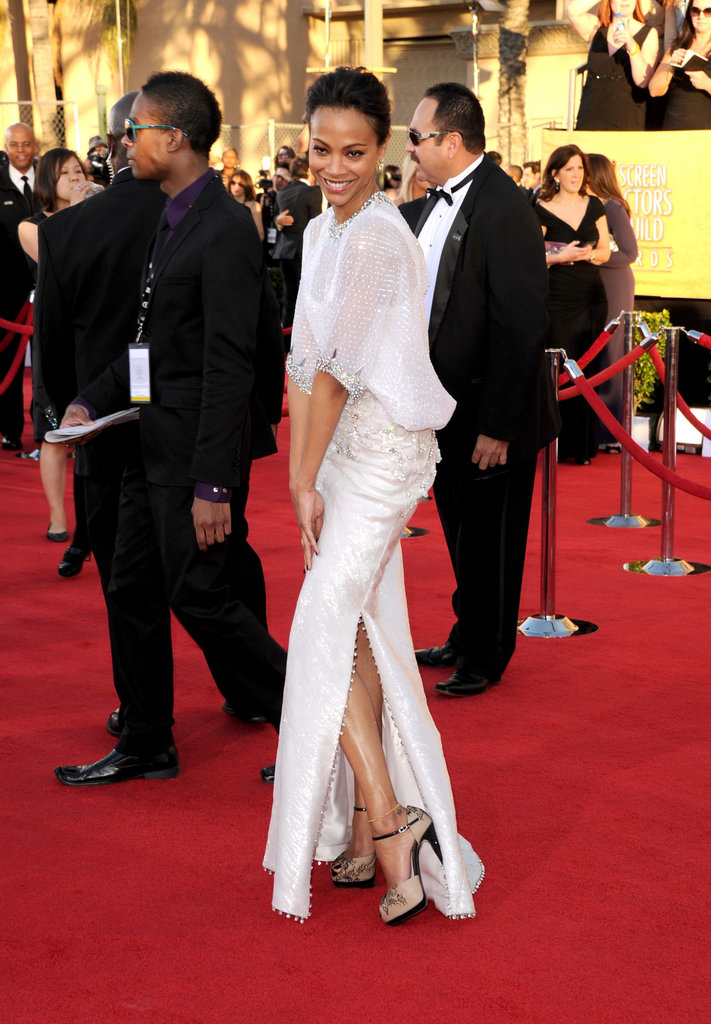 Zoe Saldana in white at the SAG Awards.