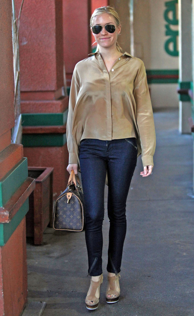Kristin Cavallari had a beige shirt on.