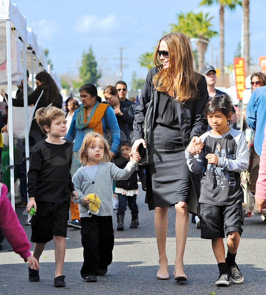 Angelina Jolie smiled at Shiloh, Knox and Pax Jolie-Pitt.