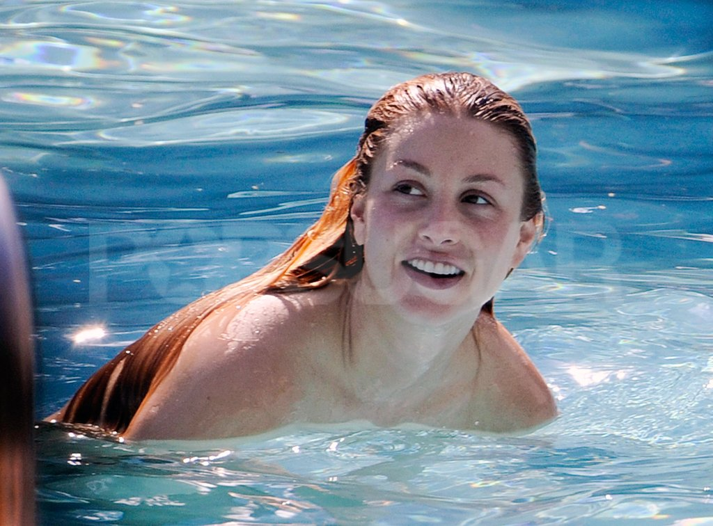 Whitney Port went for a swim in a Miami pool.