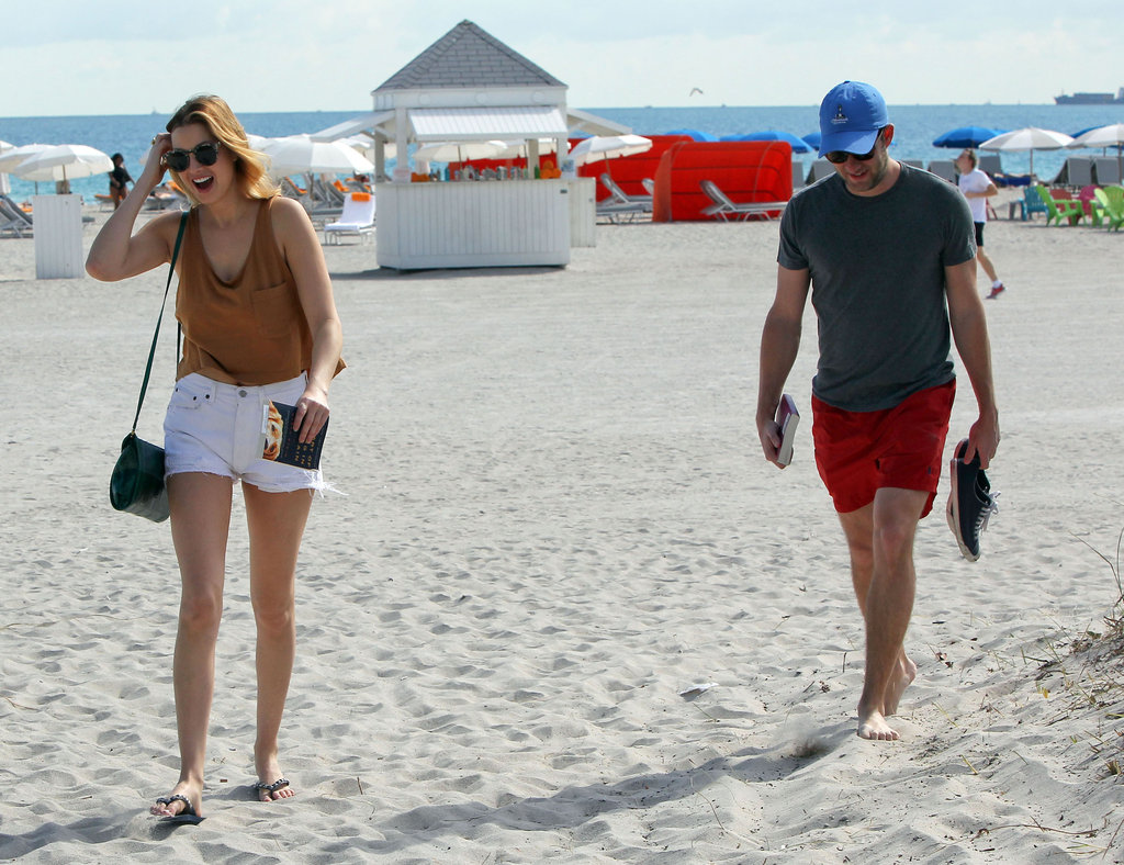 Whitney Port walked on the beach with a new man.