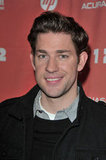 John Krasinski wrapped up in warm layers on the red carpet.