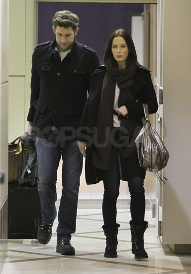Emily Blunt and John Krasinski arriving at LAX.