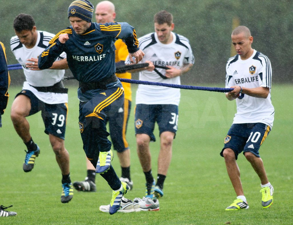 David Beckham at soccer practice.