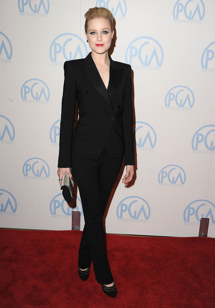 Evan Rachel Wood chose yet another sleek tailored suit, this time a structured version by Barbara Bui. She added a metallic Ferragamo clutch for a pop of color.