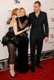 Madonna got affectionate with Andrea Riseborough and James D'Arcy.