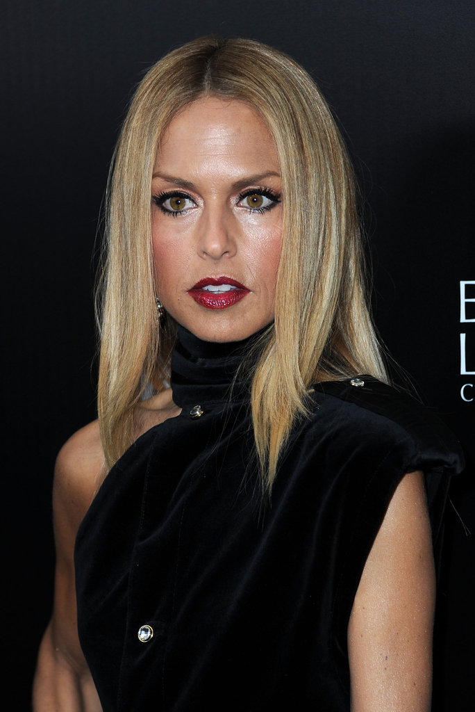 Rachel Zoe showed off her deep red lip color.
