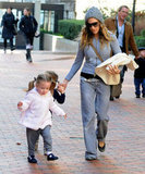 Sarah Jessica Parker walked with her twin daughters Tabitha Broderick and Loretta Broderick.