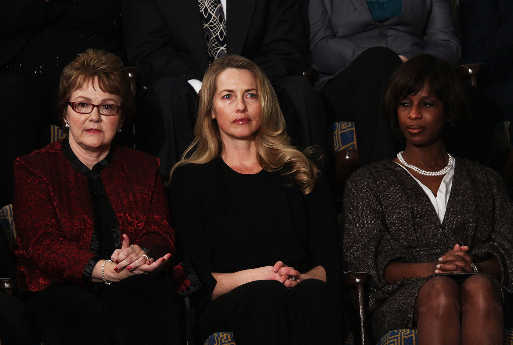 Warren Buffett's secretary, Debbie Bosanek, Founder and Chair of Emerson Collective, Laurene Powell Jobs, and GM plant manager, Alicia Boler-Davis attend the State of the Union address.