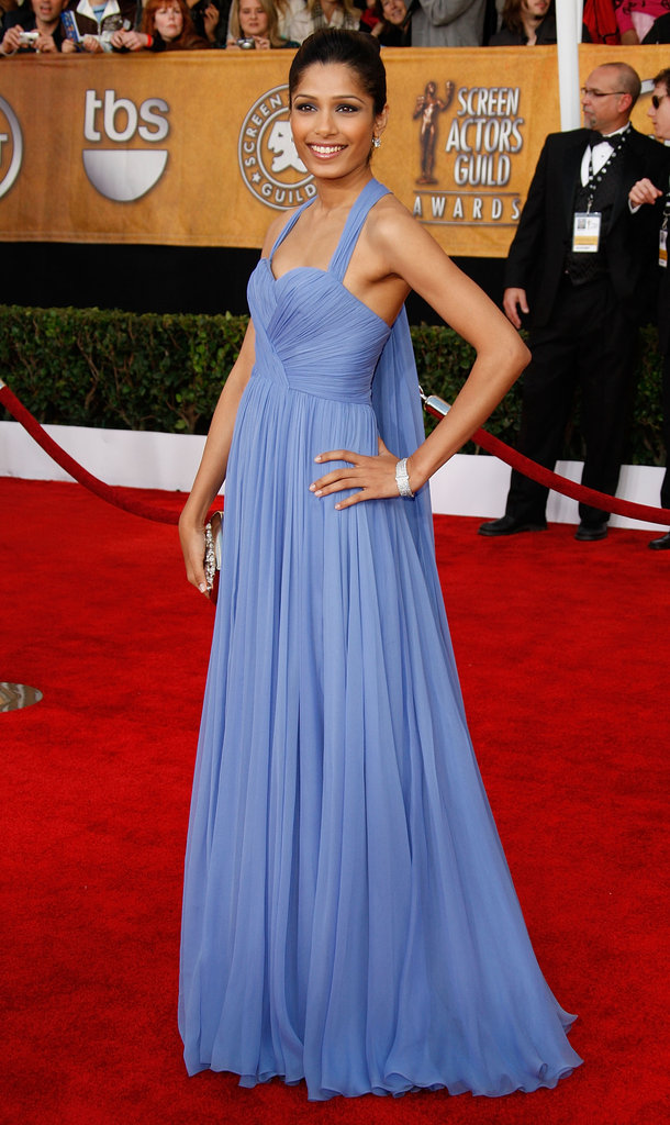 Freida Pinto wowed in a perwiwinkle-hued Marchesa gown in '09. To accessorise, she wore Bally heels and held a sweet Roger Vivier clutch.