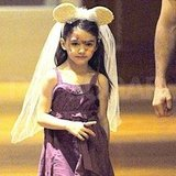 Suri Cruise wore Minnie Mouse ears with a veil.
