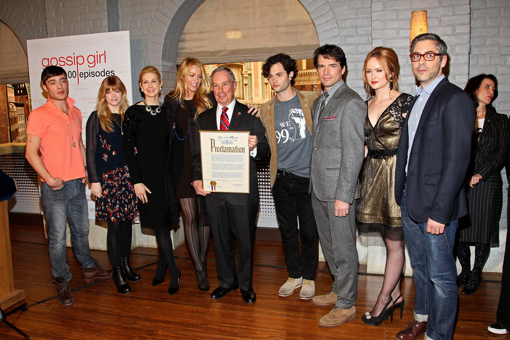 Ed Westwick, Stephanie Savage, Kelly Rutherford, Blake Lively, New York City Mayor Michael R. Bloomberg, Penn Badgley, Matthew Settle, Kaylee DeFer, and Josh Safran were in NYC.