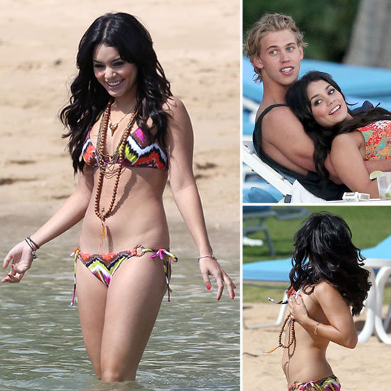 Vanessa Hudgens Almost Loses Her Bikini Top on the Beach With Her Boyfriend