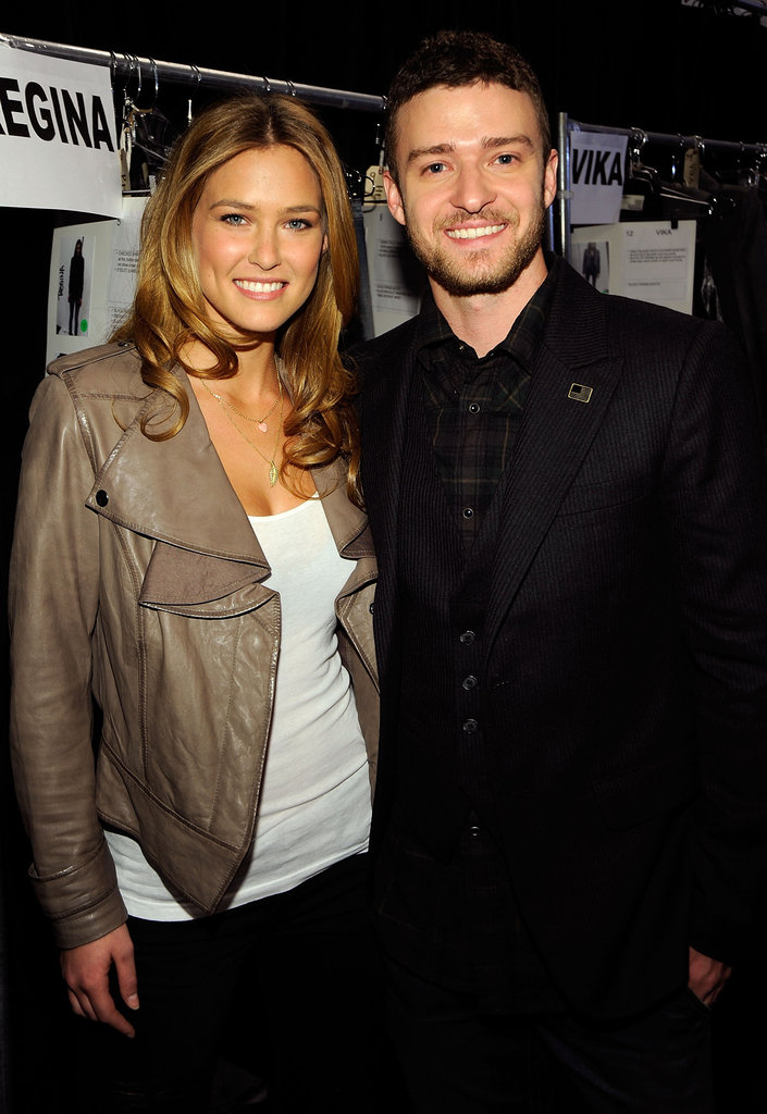 Justin Timberlake posed backstage with Bar Refaeli at New York Fashion Week in 2009.