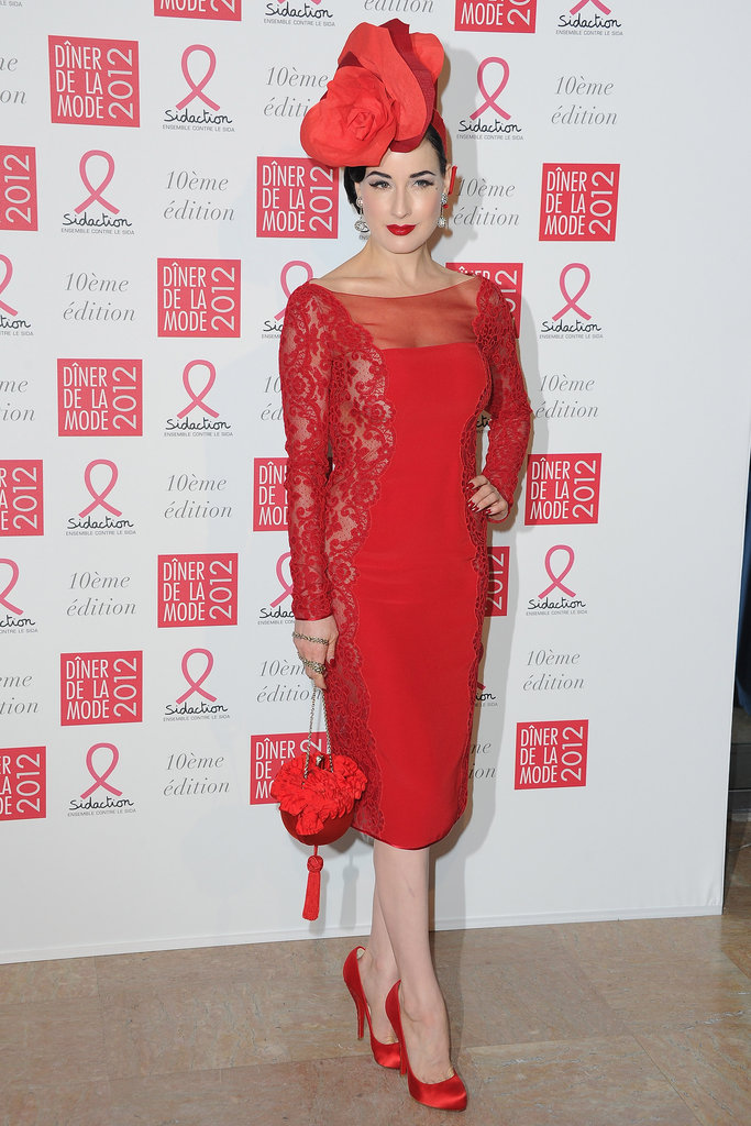 Dita Von Teese attended the 10th annual Sidaction gala in Paris.