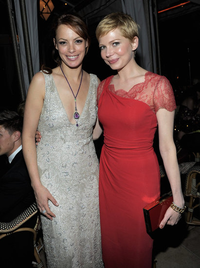 Michelle Williams and Bérénice Bejo were friendly at the Weinstein Company's Screen Actors Guild Awards afterparty.