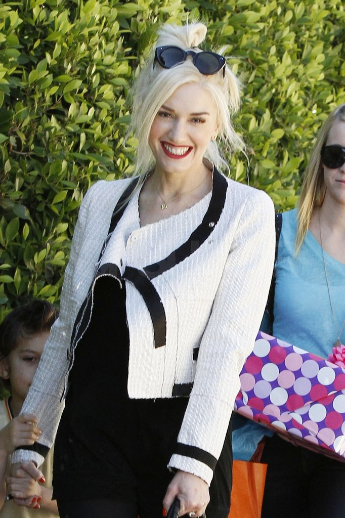 Gwen wore her signature red lip to the party.