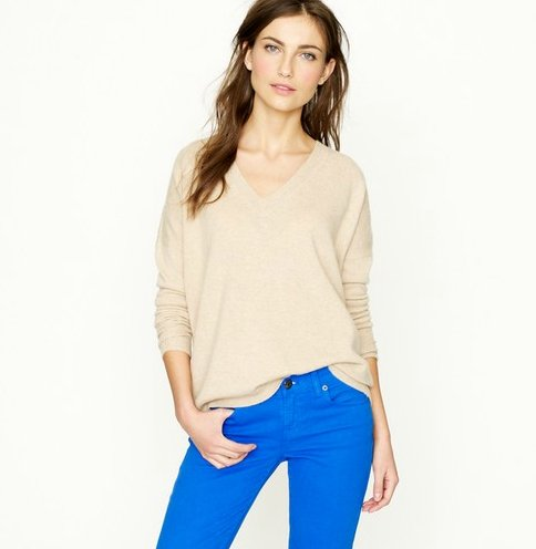 An essential slouchy knit like this could be reworked over and over again with leather pants, a pretty skirt, and bright jewels to up the ante.  J.Crew Cashmere Boyfriend Sweater ($248)