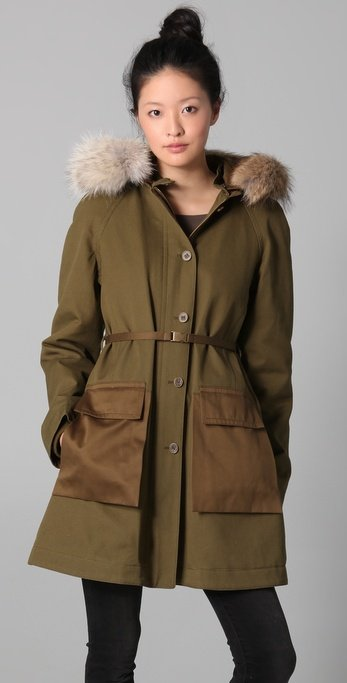 Utilitarian with a hint of luxe, this parka is the perfect function-meets-fashion kind of outerwear.  Marc by Marc Jacobs Delancey Parka Coat ($689)
