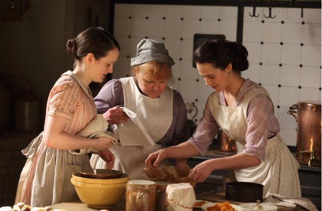"Working women didn't catch a break from corsetry, either. Daisy, Mrs. Patmore, and the rest of the ""downstairs"" group would have worn corsets as they cooked, cleaned and served in the home."