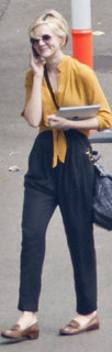 Carey Mulligan Mustard Blouse With Loafers