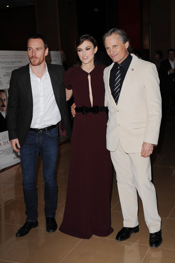 Michael Fassbender, Keira Knightley, and Viggo Mortensen in London.