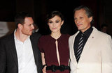 Michael Fassbender, Keira Knightley, and Viggo Mortensen together in London.