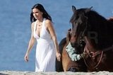 Courteney Cox was joined on set by a large horse.