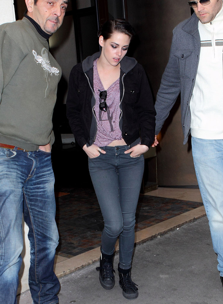 Kristen Stewart leaving dinner in Paris.