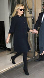 Reese Witherspoon in a black coat in London.
